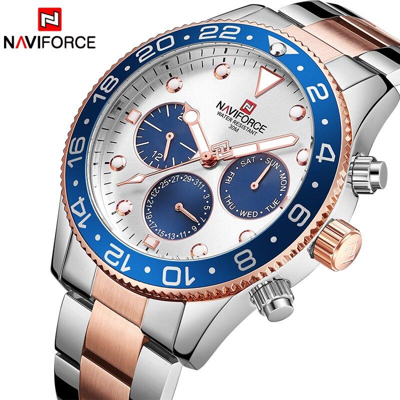 NAVIFORCE Top Luxury Brand Watches Men Fashion Casual Quartz 24 Hours Date Sport Watch Man Full Steel Business Waterproof Clock