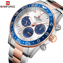 Naviforce marca de luxo relógios masculinos moda casual quartzo 24 horas data relógio do esporte homem negócios aço completo relógio à prova dwaterproof água