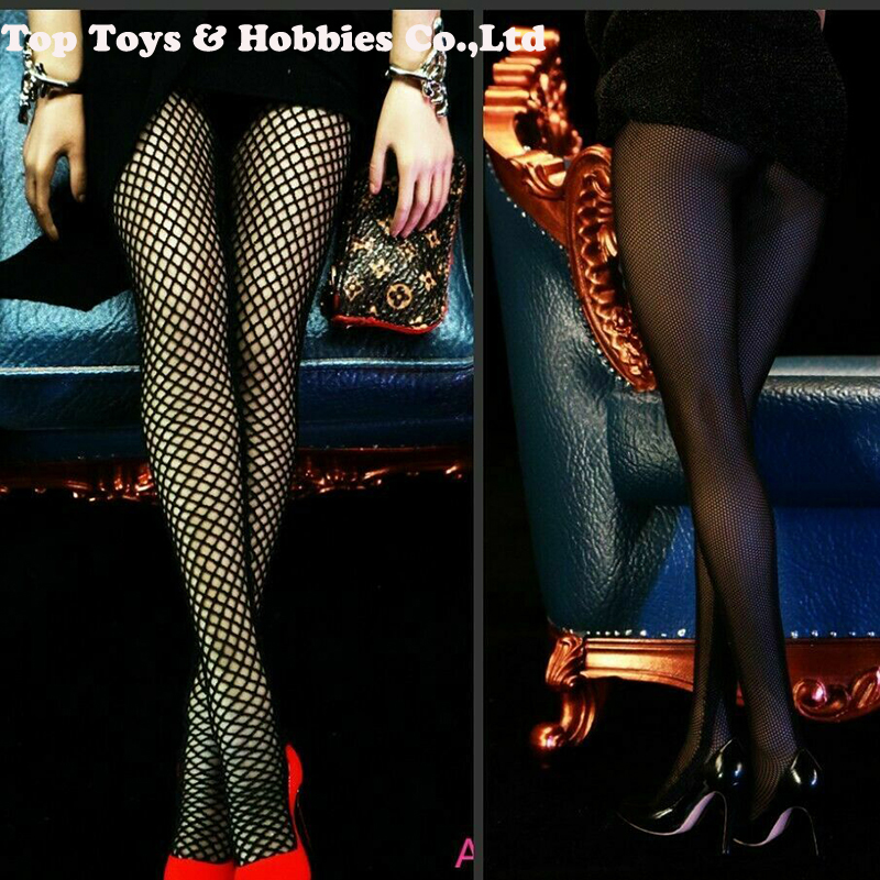 1/6 Scale Female Stockings Socks FT011 Long Fishnet Socks Ultra-thin Elastic Black Color For 12 Inches Figure Body Accessories