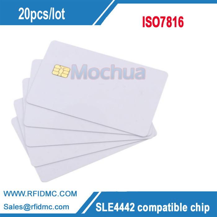 Free shipping-SLE4442 Contact Chip Card  ISO7816 PVC Smart IC Card -20pcs 20pcs lot contact sle4428 chip gold card with magnetic stripe pvc blank smart card purchase card 1k memory free shipping