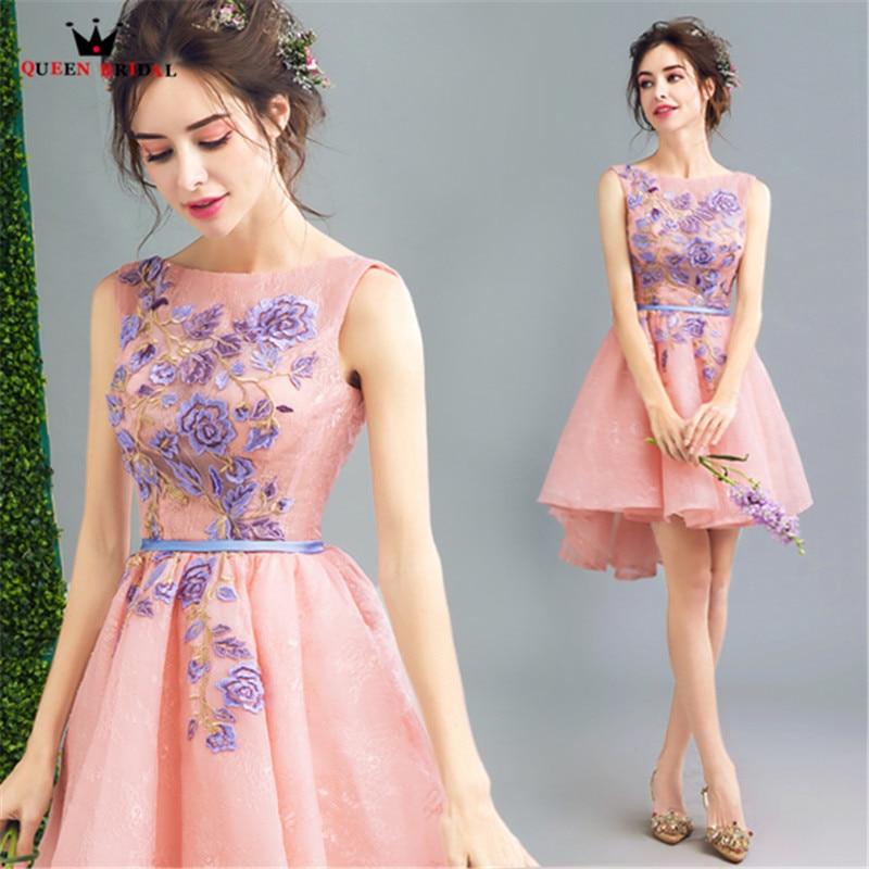 QUEEN BRIDAL   Evening     Dresses   Short Front Long Back Flowers Belt Pink Short Party   Dresses     Evening   Gowns Vestido De Festa LS60