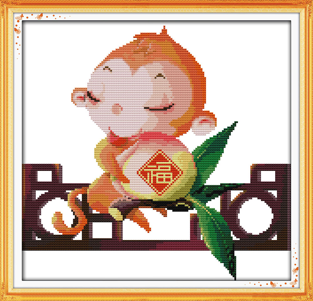 Monkeys bring blessing cross stitch kit Chinese word Aida count 14ct 11ct printed embroi ...