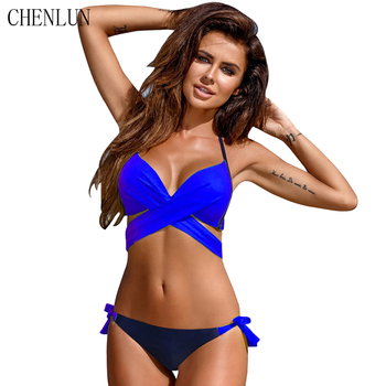 CHENLUN 2018 Sexy Bikini Swimsuit Women Push Up Swimwear Cross Bandage Halter Bikini Swimsuit Beach Swimwear Set XXL