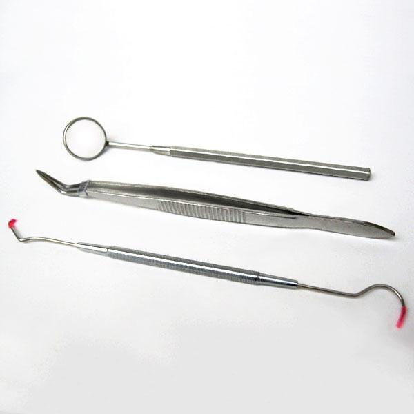New 3 Pcs/set Explore Oral Cavity Stainless Steel Teeth Dental Dentist Handle Tools with Picks Mirror Set 88 HJL2017