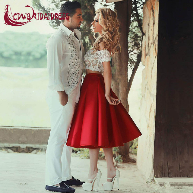 13c2c8d780 2017 Elegant Two Pieces Red Homecoming Dresses With White Lace Bodice Satin Off  Shoulder Short Prom Party Gowns for Sweet 16