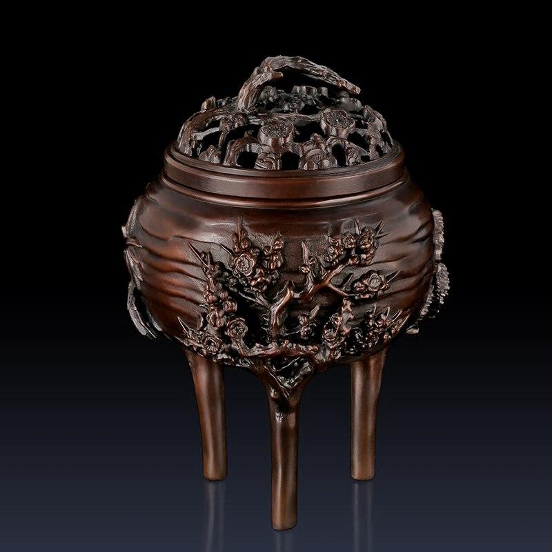 Китайский круглый Курильница Медь ремесленных Чистая Бронзовая статуя ароматические палочки украшение Бронзовый окуривание печь