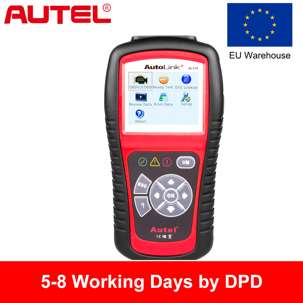 EU Warehouse,Autel Original Car Diagnostic Tool OBD2 Automotive Scanner AL519 OBD2 EOBD Fault Code Reader Scan Tools Automotriz 2016 new arrival vs 890 obd2 car scanner scantool obdii code reader tester diagnostic tools 3 inch lcd car detector