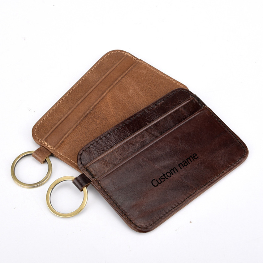 Handmade  Crazy Horse Leather Key Bag Ring Chain Wallet Holder Case Personalized