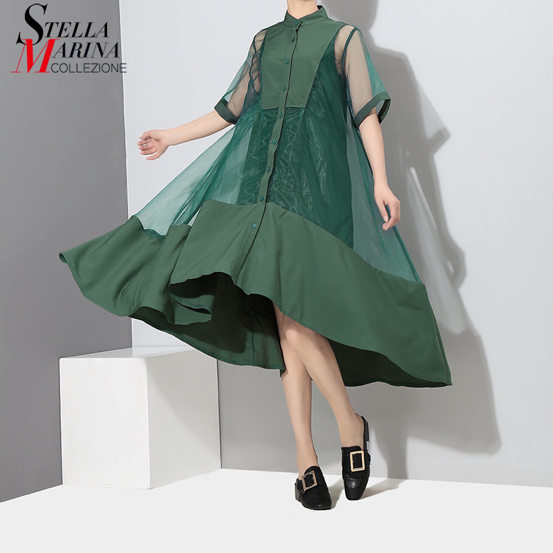 2019 Korean Style Two Pieces Set Women Summer Green Midi Transparent Mesh Dress With Vest Lady Sexy Party Dress Robe Femme 2564 Платье
