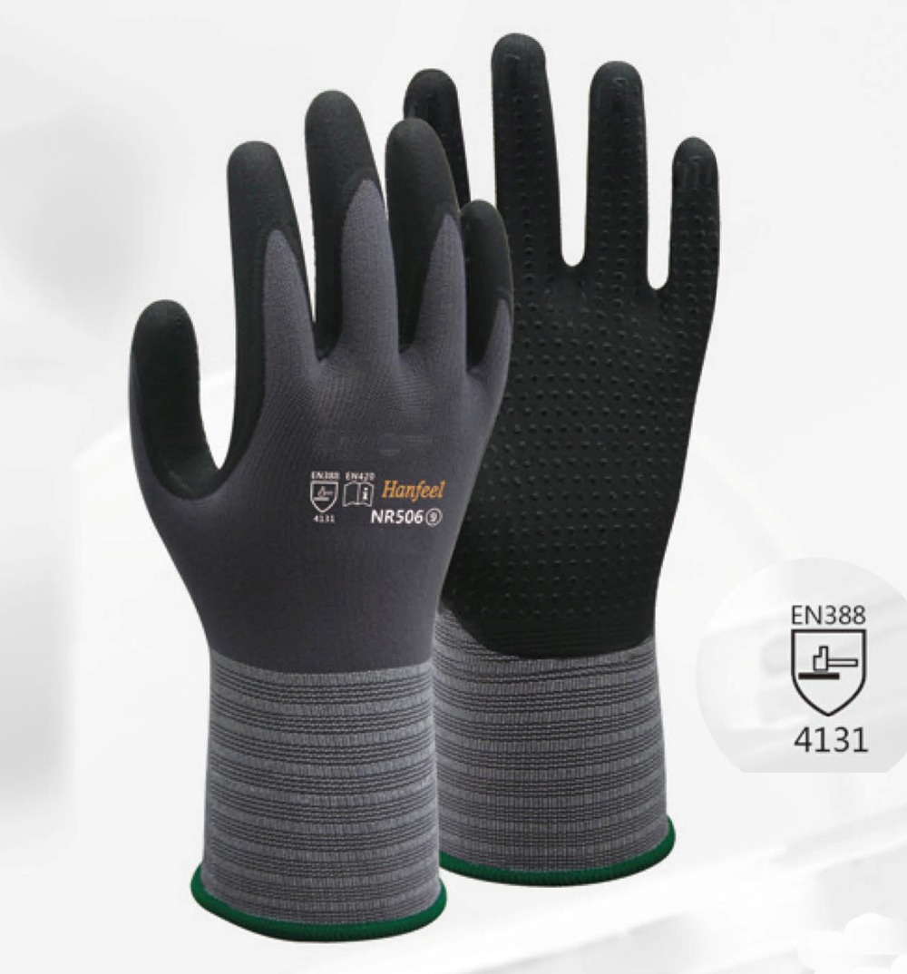 Oil And Gas High Flex Safety Glove 4 Pairs Gardening Glove Nylon Spandex Nitrile Foam Dots Dipped Abrasion Resistant Work Glove