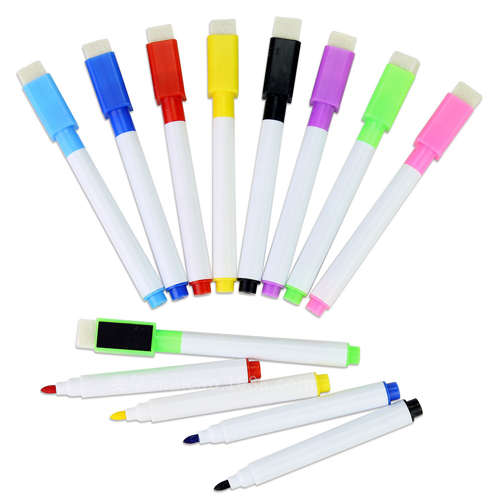 8Pcs/set Erasable Magnetic White Board Maker Pen Whiteboard Marker Liquid Chalk Glass Ceramics Office School Supply 8colors Ink