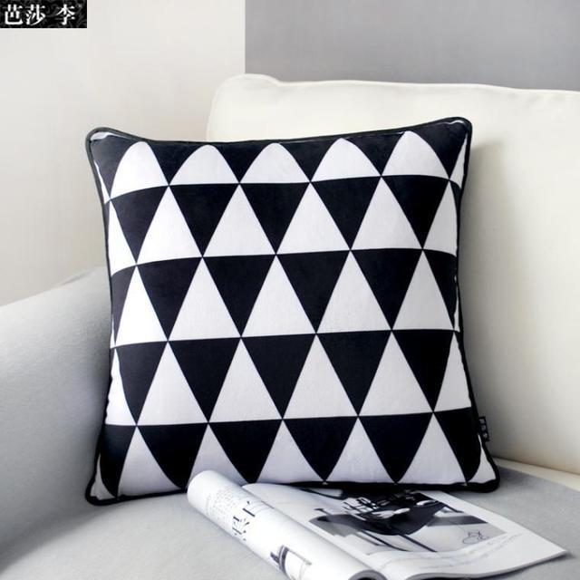 Top H3235 Mode Schwarz Weiß Geometrische Kissen Abdeckung Modernen IV87