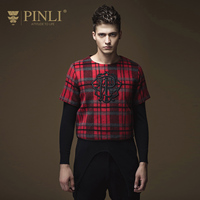 PINLI 2016 New Fall Men S Slim Short Sleeved Wool Embroidered Plaid Sweater M B16310425