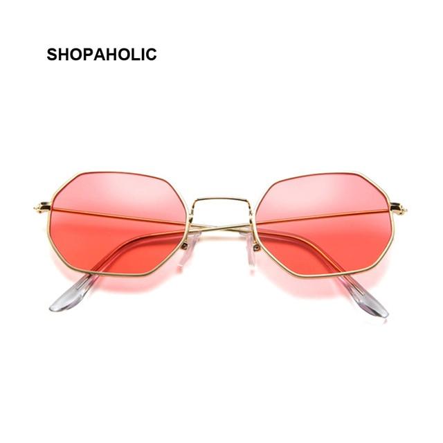 Fashion Sunglasses Women Brand Designer Small Frame Polygon Clear Lens Sunglasses Men Vintage Sun Glasses Hexagon Metal Frame 4