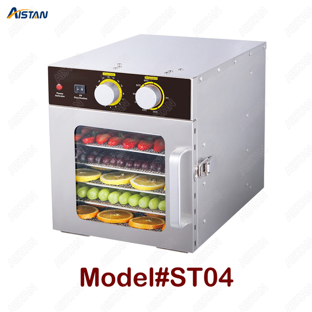 ST04 6 Trays Food Dehydrator Snacks Dehydration Dryer Fruit Vegetable Herb Meat Drying Machine Stainless Steel