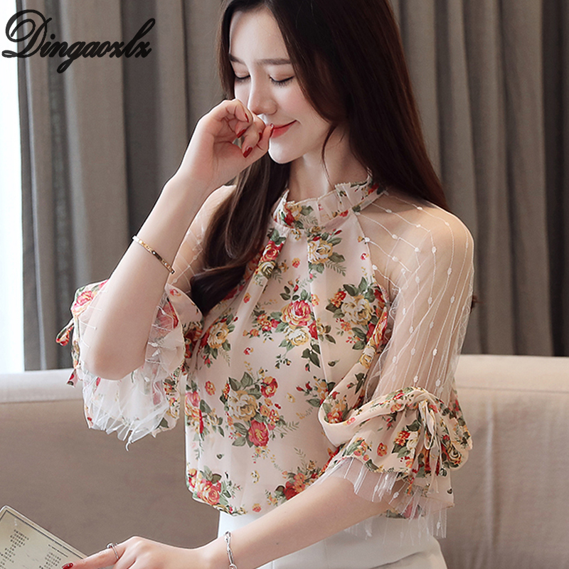 Dingaozlz New Fashion Printed Chiffon   shirt   Patchwork Mesh Tops Casual Summer Women   Blouse     shirt
