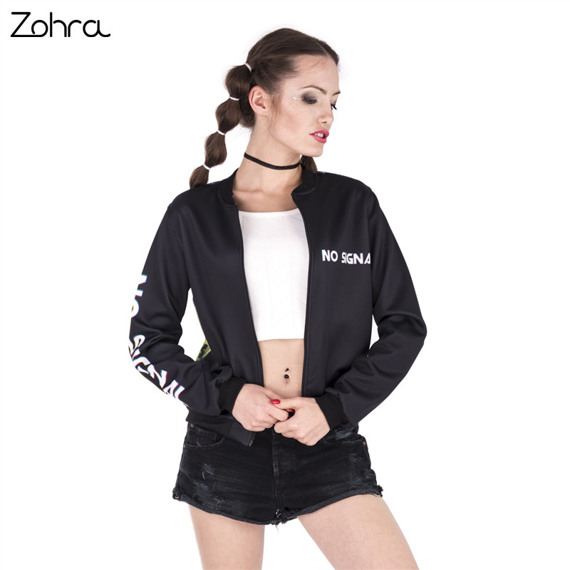 Zohra Fashion Design Women Bomber Jacket No Signal Skull Printing Jaqueta Feminina Sexy Slim Basic Jacket for Woman