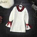 2017 Spring High Quality Brief White Black Women Sweater Dress Casual Knitting V-Neck Above Knee, Mini Female Sweater Vestido