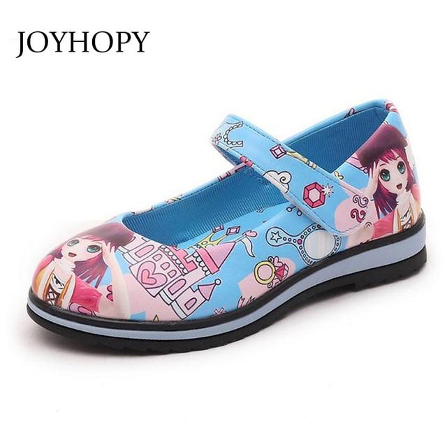 Kinderschoenen Voor Meisjes.Joyhopy Kinderschoenen Meisjes Schoenen Print Lederen Schoenen