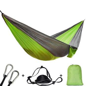 Simple Double hamac adulte en plein air sac à dos voyage survie chasse lit de couchage Portable avec 2 sangles 2 mousqueton