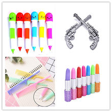1pc rotating pocket-size pen Lipstick Capsule small oil pen exquisite brief Mini ballpoint pen portable ball point pen(China)