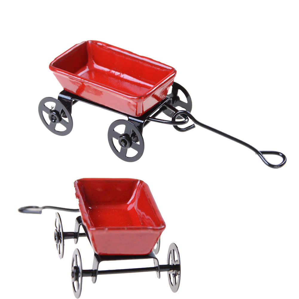 Toy gifts Ornament 1:12 Mini Cute Dollhouse Miniature Metal Red Small Pulling Cart Garden Furniture Accessorie Home Decor Gift