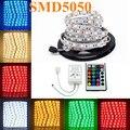 Welpur 5050 RGB branco quente Tira CONDUZIDA Flexível Da Lâmpada de Luz 5 M 300 Led SMD NÃO Impermeável RGB Led Strip/24key controlador