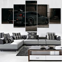 5 Panel Vehicles Tuned Nissan GT-R Black Strakes View On Canvas Print Artwork Painting Modern Home Decor Wall Framed Or no Frame