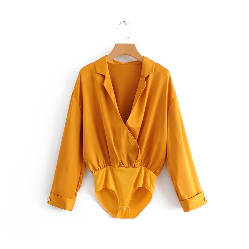 Women elegant candy color bodysuits shirt casual buttons decoration siamese blouse playsuits vintage chic feminina blusas LS2740