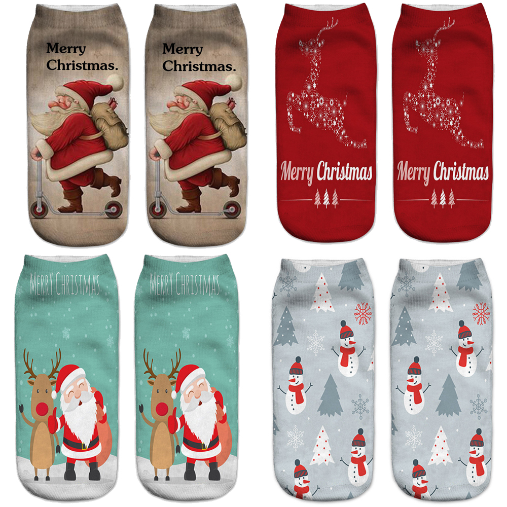 Merry Christmas Unisex Low Cut Ankle Socks 19x8cm 3d Printed Xmas Pattern Sock Cute Baby Girl Casual Cotton Sock Costumes & Accessories Novelty & Special Use