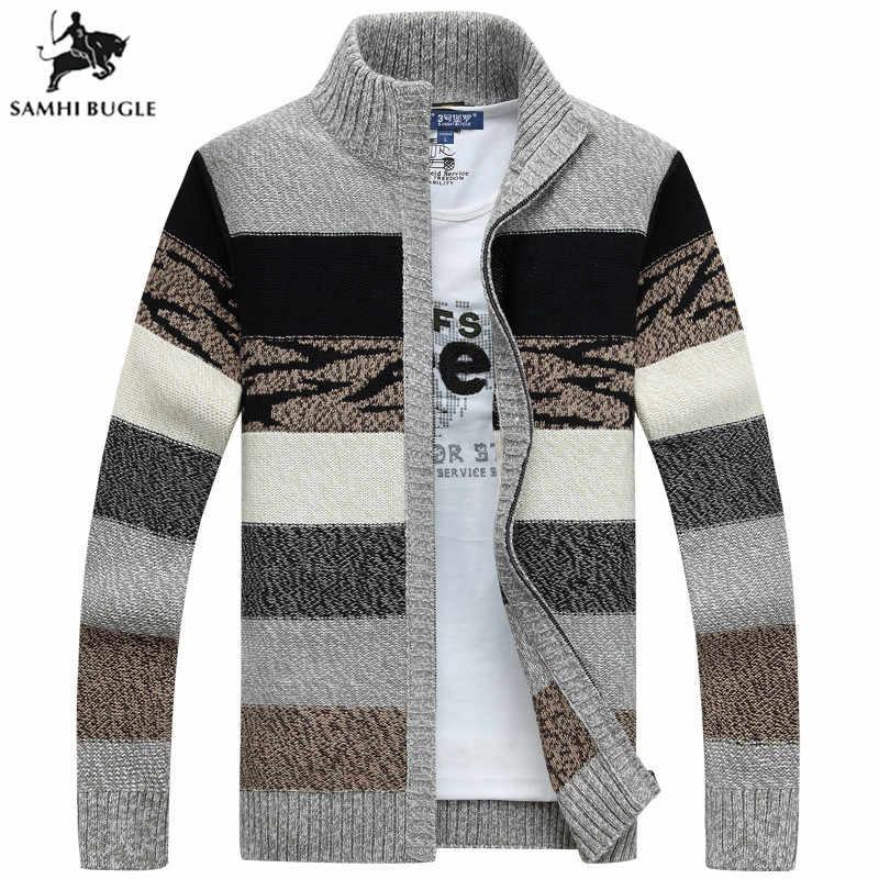 SAMHIBUGLE Gestrickte Pullover Männer Strickjacken Kragen Winter Wolle Pullover Mode Strickjacken Männlichen Pullover Mantel Marke männer Kleidung