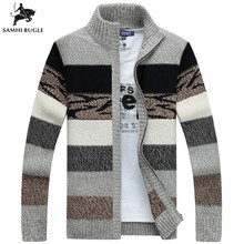 Mens Knitted Sweaters Cardigans Collar Winter Wool Sweater Fashion Male Coat Brand Clothing