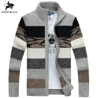 SAMHIBUGLE Men's Knitted Sweaters Cardigans Collar Winter Wool Sweater Fashion Cardigans Male Sweaters Coat Brand Men's Clothing
