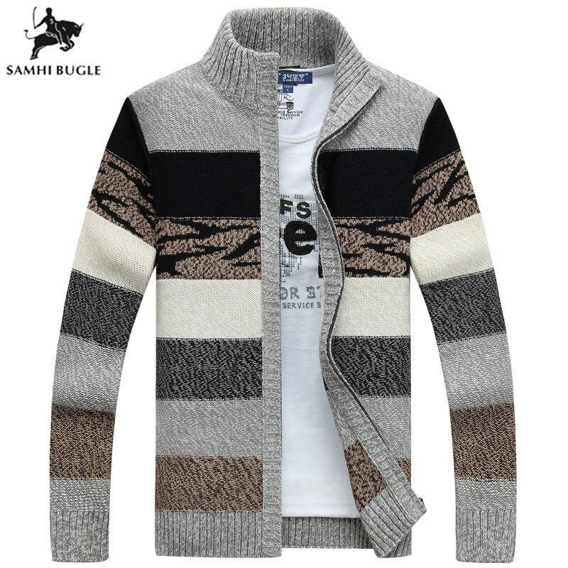 SAMHIBUGLE hommes chandails tricotés Cardigans col hiver laine chandail mode Cardigans hommes chandails manteau marque vêtements pour hommes