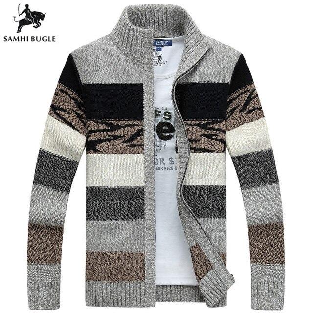 SAMHIBUGLE גברים של סוודרים סרוגים אפודות צווארון חורף צמר סוודר אופנה סוודרים זכר סוודרים מעיל מותג גברים של בגדים