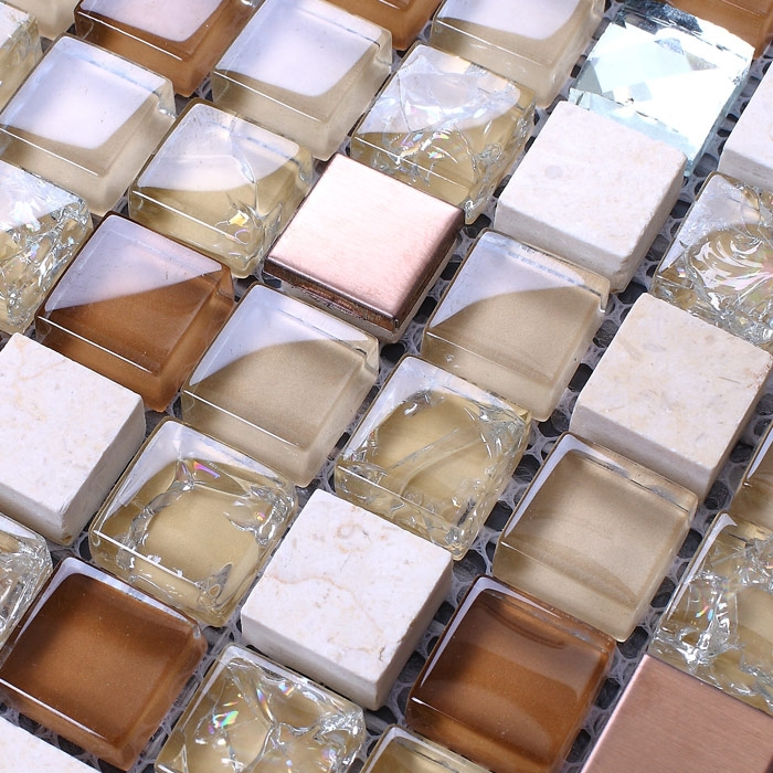 Brown Glass Mixed Stone Mosaic Tiles For Bathroom Shower Tiles Square Pattern Blue Crystal