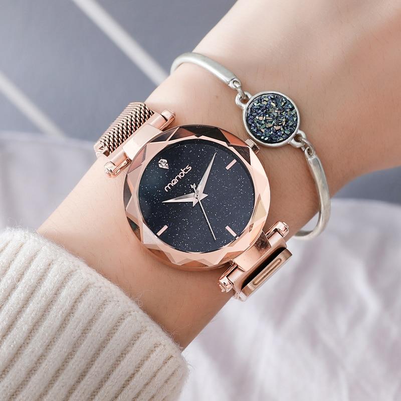 Magnet female models atmospheric chic star watch women Rose gold fashion trend waterproof women quartz watch