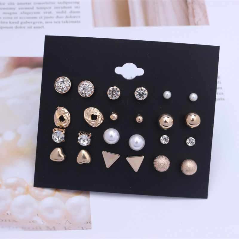 12 Pairs/Set Bohemian Natural Stone Stud Earrings Trend Punk Crystal Round Triangle Vintage Gem Earrings for Women Gift Hot Sale