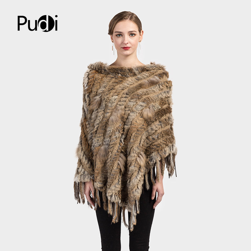 CK704 Real Knitted hooded rabbit fur and raccoon fur shawl poncho stole cape   scarf     wrap   2 color