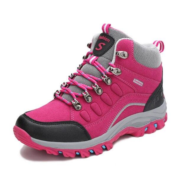 902e6b562b8 US $22.83 39% OFF|Couple Hiking Shoes Man Women Waterproof Hiking Boots  Warm High Top Mountain Climbing Camping Shoes Trekking Hunting Footwear-in  ...