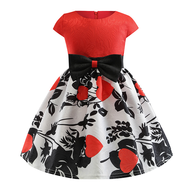 2019 New Girls Printed Dress Europe and America Princess Party Pengpeng Dresses kids beautiful clothing 3 8Y