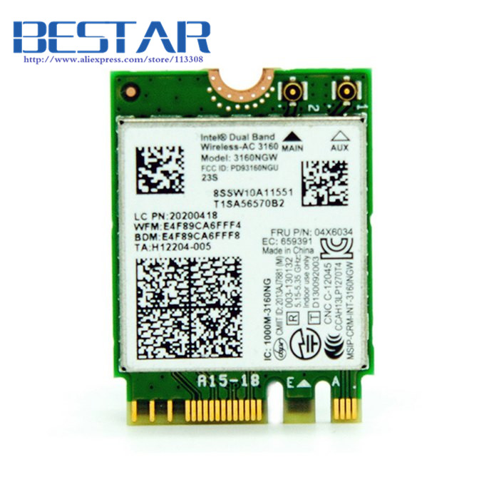 (50 pieces/lot) Intel 802.11AC AC3160 3160NGW NGFF M.2 2.4G 5G 433M Hotspot WIFI Wireless & Bluetooth 4.0 Card for Laptop