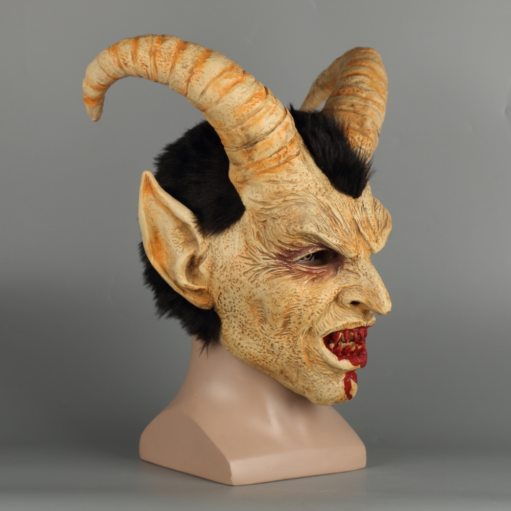 Scary mask demon devil Lucifer Horn latex Masks Halloween movie cosplay decoration Festival Party Supply props Adults Horrible (32)