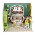 Q002 DIY Wooden Doll House living room With Furniture Lights Model Building Kits 3D Miniature Dollhouse Dolls Toy green tea