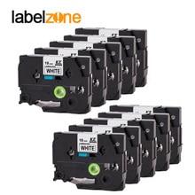 10Pcs 18mm tze241 black on white label tape Compatible Brother p-touch printers tze laminated tze-241 tz-241 tz241 tze141 ribbon
