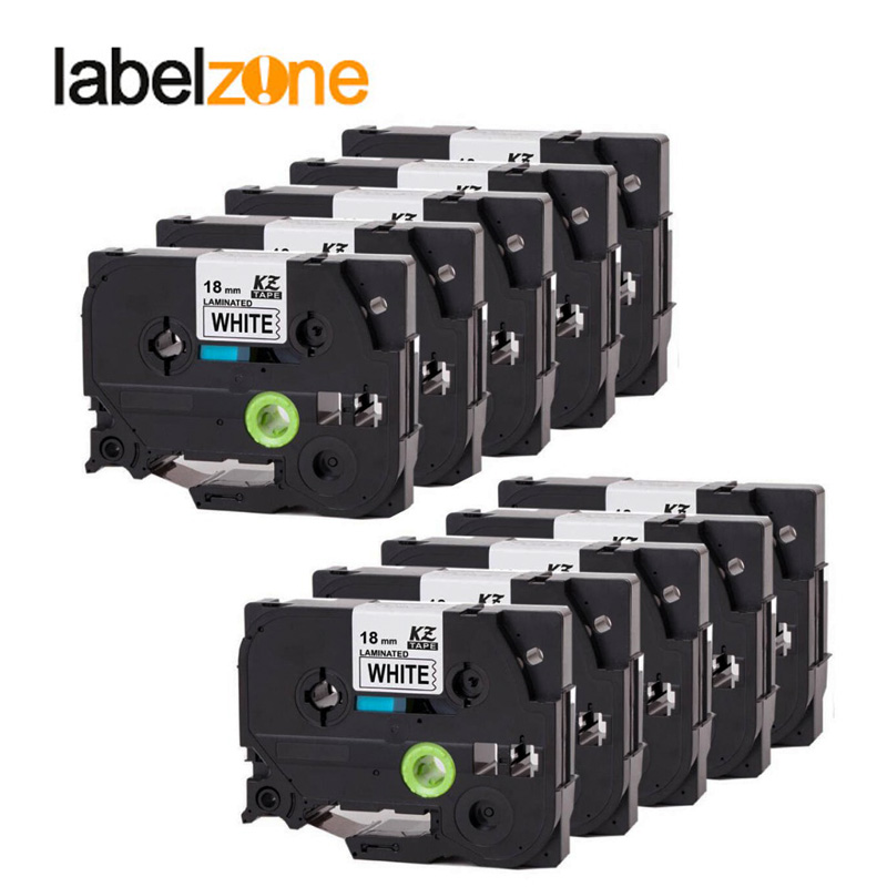 10Pcs <font><b>18mm</b></font> tze241 black on white label tape Compatible Brother p-touch printers <font><b>tze</b></font> laminated <font><b>tze</b></font>-<font><b>241</b></font> <font><b>tz</b></font>-<font><b>241</b></font> tz241 tze141 ribbon image