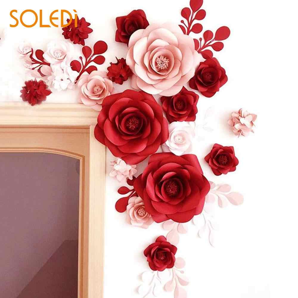 Backdrop Paper Flower Paper Wedding Flowers Beautiful 3 Size Paper Rose Diy Party Decor Birthday