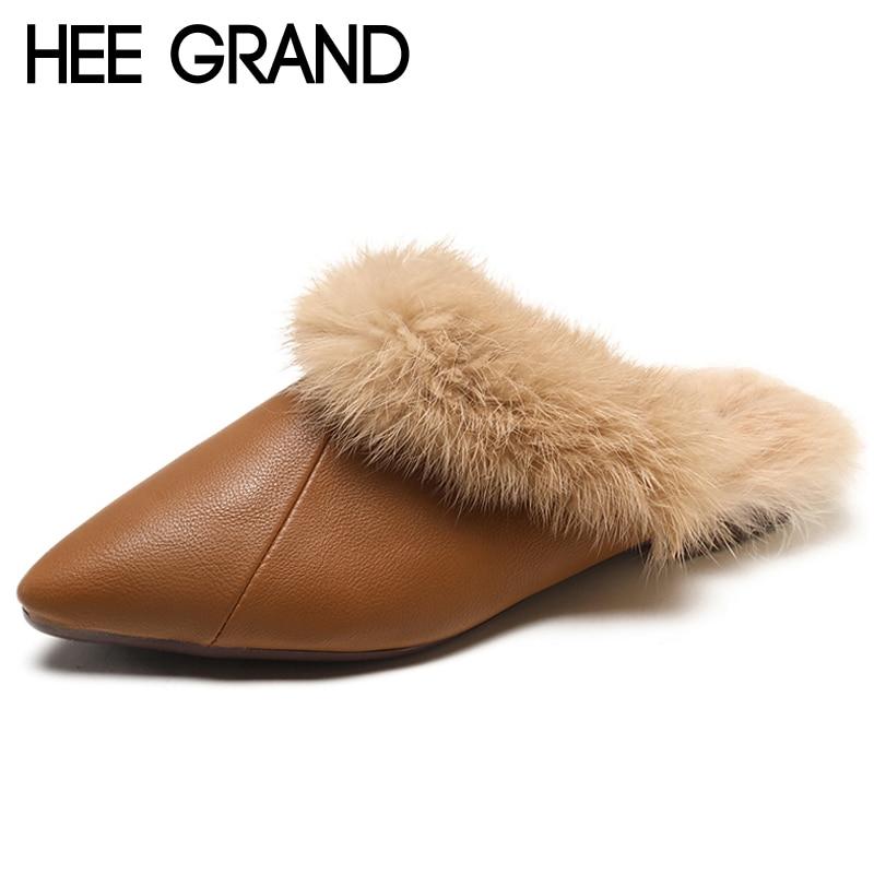 Ernst Hee Grand Spitz Faux Fell Hausschuhe Casual Schuhe Frau Slip Auf Winter Warme Feste Frauen Schuhe Mode Dias Creepers Xwt1439