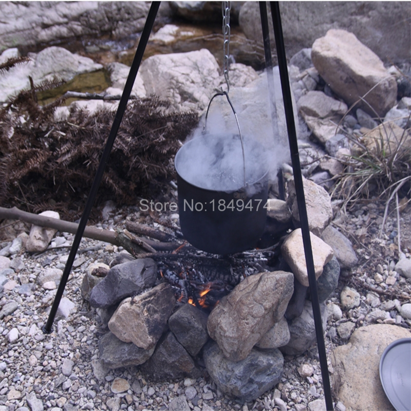 Alocs Utralight Outdoor Cooking Camping Picnic Aluminum Campfire Tripod Bonfire Hanger Cook Tripod Portable Hanging Pot CF-RT06