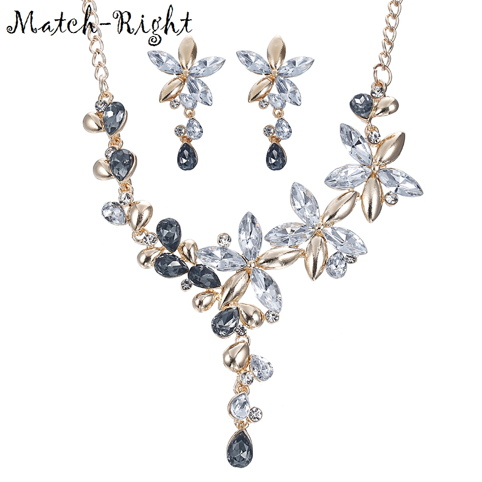Match-Right Women Necklace Rhinestone Statement Flower Necklaces Pendants Jewelry Crystal Set Necklace Women Accessories KK066